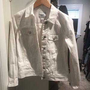 Distressed white jean jacket